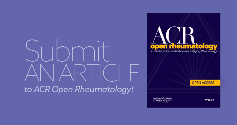 ACR Open RheumatologyJournal accepting article submissions