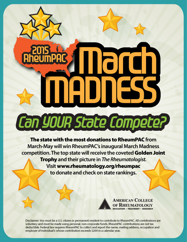 March Madness rheumPAC donation content