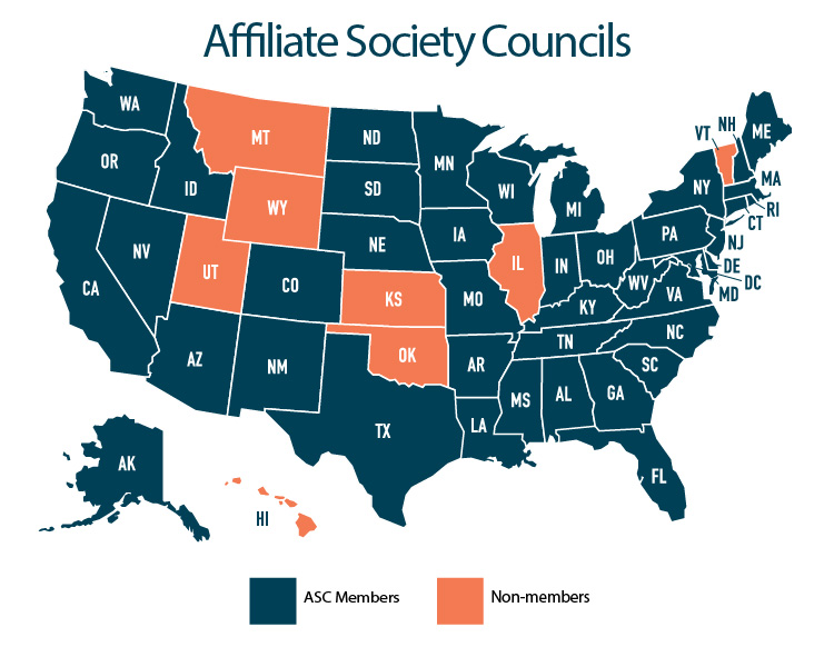 ACR affiliate society council map