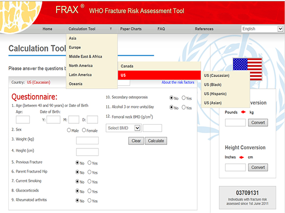 WHO Fracture Risk Assessment Tool sample